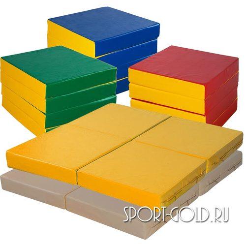 Спортивный мат АССОРТИ №11, 100х100х10 см, складной, 4 секции