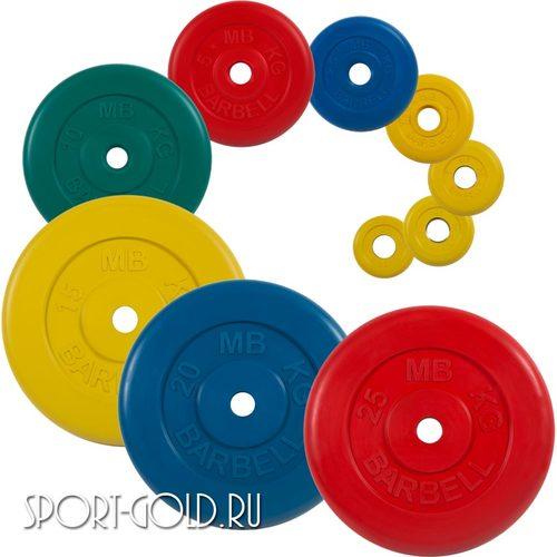 Диски для штанги MB Barbell Стандарт 26 мм, цветные обрезиненные