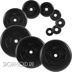 Диски для штанги MB Barbell Стандарт 26 мм, черные обрезиненные