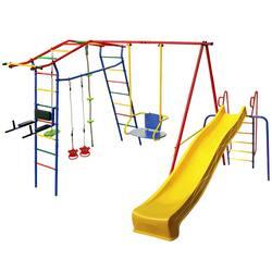 Детский спортивный комплекс для дачи КМС Игромания-3 Пресс с горкой