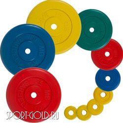 Диски для штанги MB Barbell Стандарт 31 мм, цветные обрезиненные