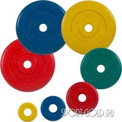 Диски для штанги MB Barbell Стандарт 51 мм, цветные обрезиненные