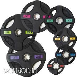 Диски для штанги Original FitTools Олимпийские обрезиненные черные с двумя хватами