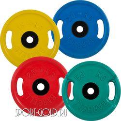 Диски для штанги MB Barbell Евро-классик с ручками олимпийские цветные