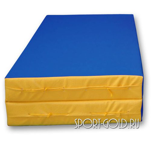 Спортивный мат АССОРТИ №3, 100х100х10 см, складной, 2 секции Сине-желтый