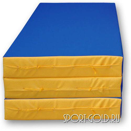 Спортивный мат АССОРТИ №4, 150х100х10 см, складной, 3 секции Сине-желтый