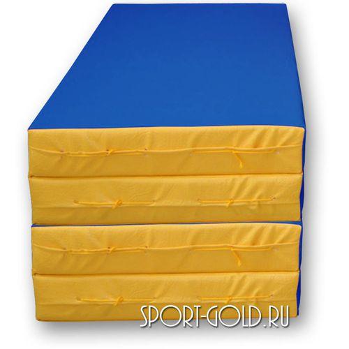 Спортивный мат АССОРТИ №5, 200х100х10 см, складной, 4 секции Сине-желтый