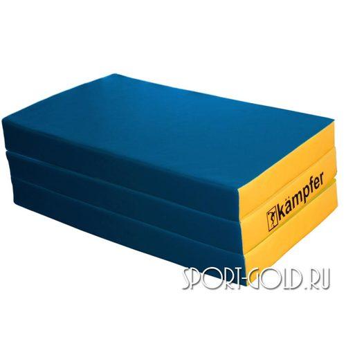 Спортивный мат Kampfer №6, 150х100х10 см, складной, винилискожа Сине-желтый