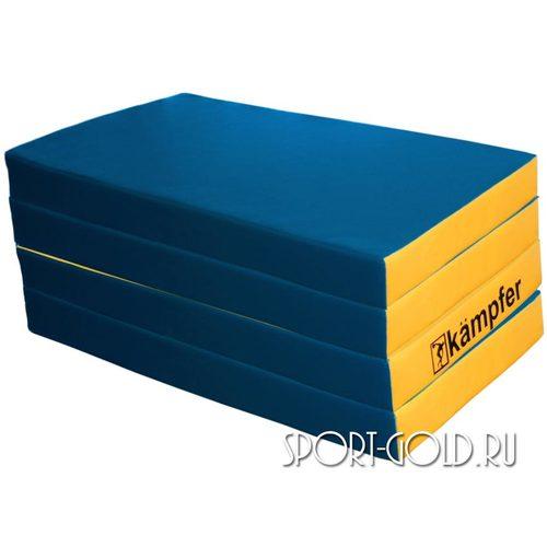 Спортивный мат Kampfer №7, 200х100х10 см, складной, винилискожа Сине-желтый
