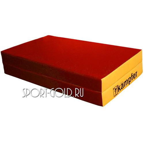 Спортивный мат Kampfer №4, 100х100х10 см, складной, винилискожа Красно-желтый