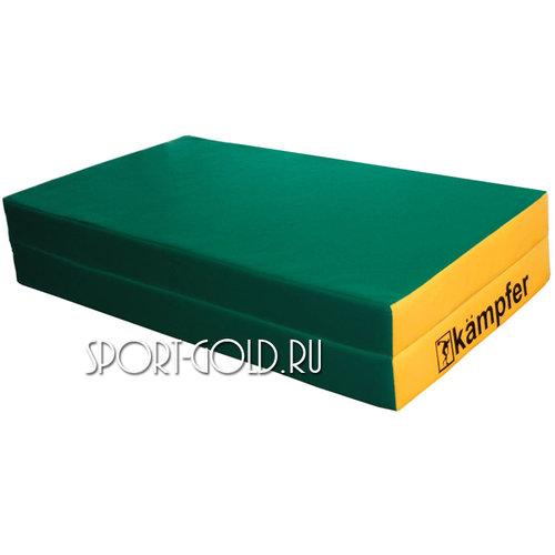 Спортивный мат Kampfer №4, 100х100х10 см, складной, винилискожа Зелено-желтый