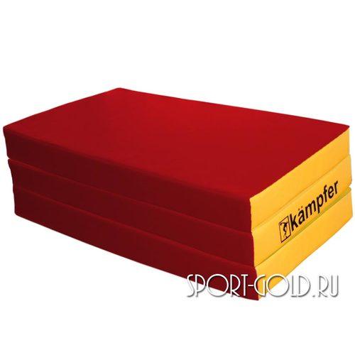 Спортивный мат Kampfer №6, 150х100х10 см, складной, винилискожа Красно-желтый