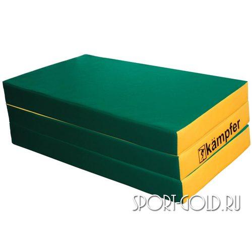 Спортивный мат Kampfer №6, 150х100х10 см, складной, винилискожа Зелено-желтый