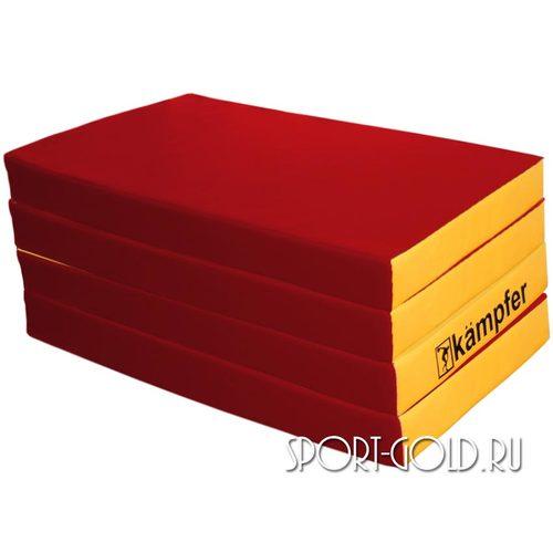 Спортивный мат Kampfer №7, 200х100х10 см, складной, винилискожа Красно-желтый