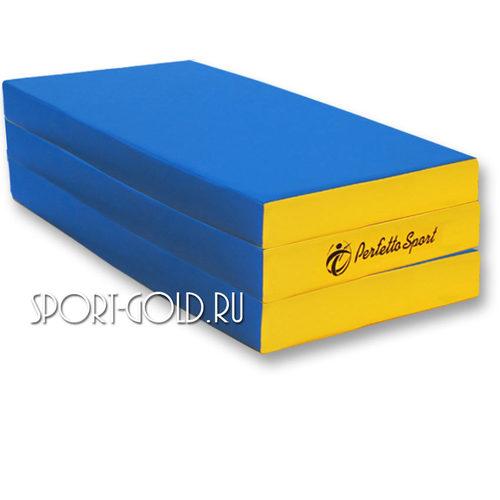 Спортивный мат Perfetto Sport №4, 150х100х10 см, 2 сложения Сине-желтый