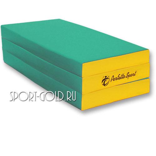 Спортивный мат Perfetto Sport №4, 150х100х10 см, 2 сложения Зелено-желтый