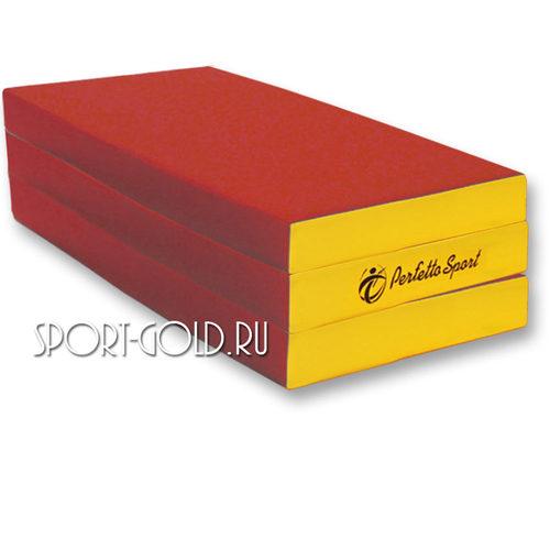 Спортивный мат Perfetto Sport №4, 150х100х10 см, 2 сложения Красно-желтый