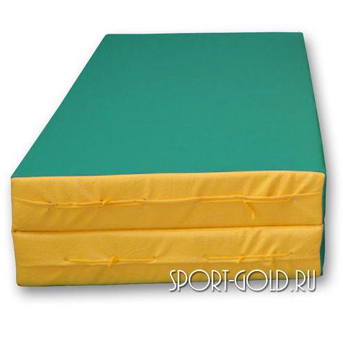 Спортивный мат АССОРТИ №3, 100х100х10 см, складной, 2 секции Зелено-желтый