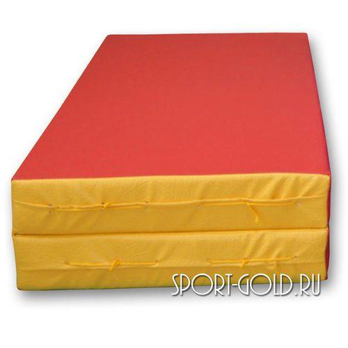 Спортивный мат АССОРТИ №3, 100х100х10 см, складной, 2 секции Красно-желтый