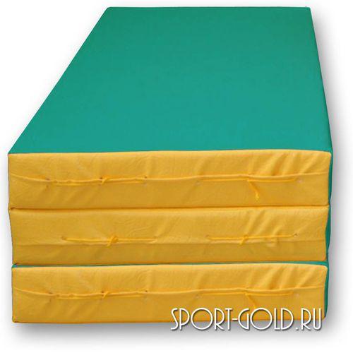 Спортивный мат АССОРТИ №4, 150х100х10 см, складной, 3 секции Зелено-желтый