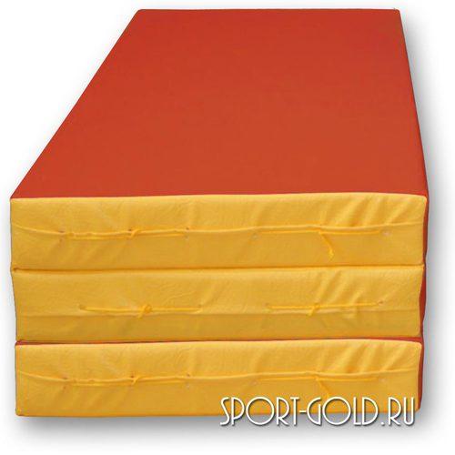 Спортивный мат АССОРТИ №4, 150х100х10 см, складной, 3 секции Красно-желтый