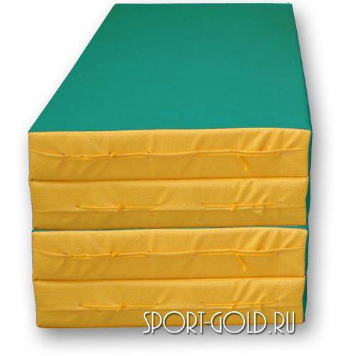 Спортивный мат АССОРТИ №5, 200х100х10 см, складной, 4 секции Зелено-желтый