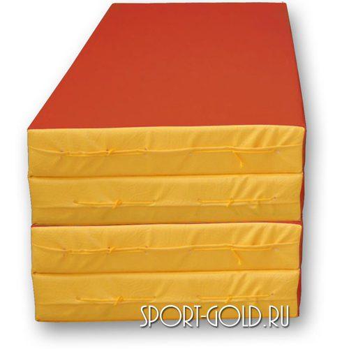 Спортивный мат АССОРТИ №5, 200х100х10 см, складной, 4 секции Красно-желтый
