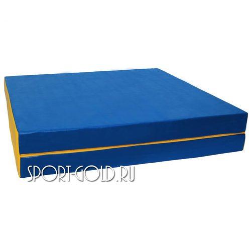 Спортивный мат АССОРТИ №8, 200х100х10 см, складной, 2 секции Сине-желтый