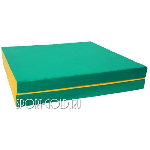 Спортивный мат АССОРТИ №8, 200х100х10 см, складной, 2 секции Зелено-желтый