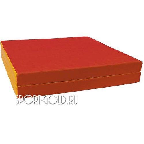 Спортивный мат АССОРТИ №8, 200х100х10 см, складной, 2 секции Красно-желтый