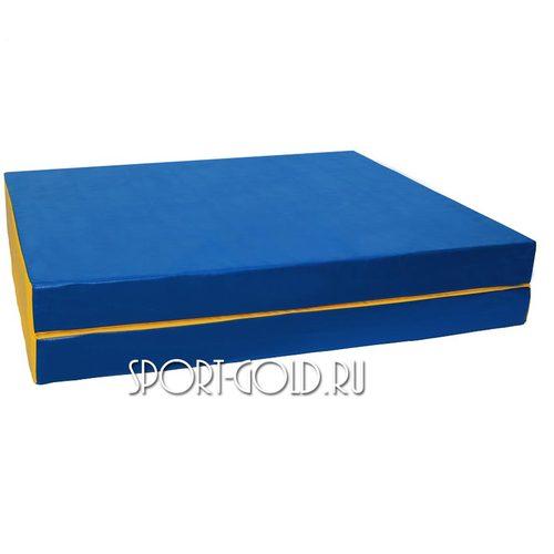 Спортивный мат АССОРТИ №10, 150х100х10 см, складной, 2 секции Сине-желтый