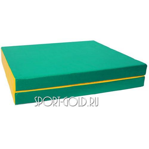 Спортивный мат АССОРТИ №10, 150х100х10 см, складной, 2 секции Зелено-желтый
