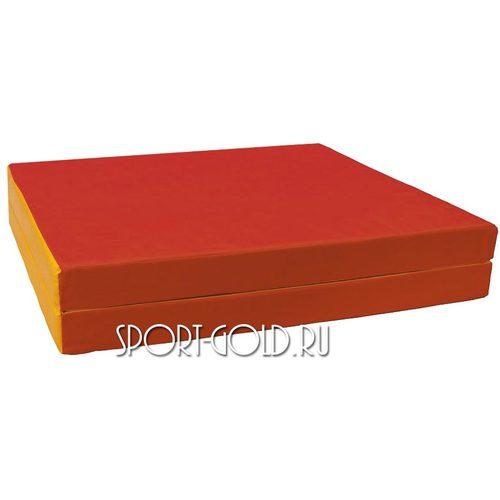 Спортивный мат АССОРТИ №10, 150х100х10 см, складной, 2 секции Красно-желтый