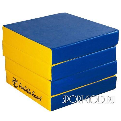Спортивный мат Perfetto Sport №11, 100х100х10 см, 4 сложения Сине-желтый