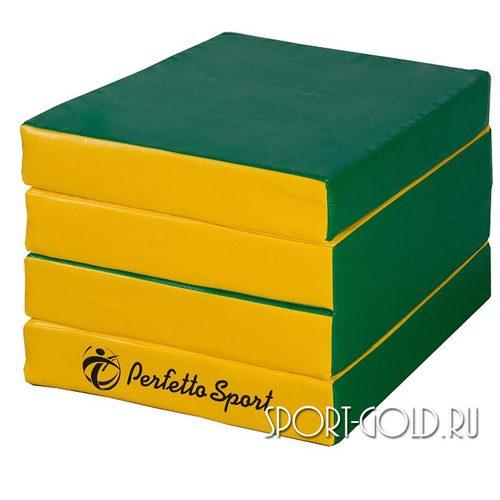 Спортивный мат Perfetto Sport №11, 100х100х10 см, 4 сложения Зелено-желтый