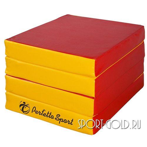 Спортивный мат Perfetto Sport №11, 100х100х10 см, 4 сложения Красно-желтый
