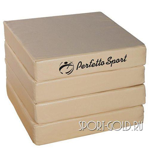 Спортивный мат Perfetto Sport №11, 100х100х10 см, 4 сложения Бежевый