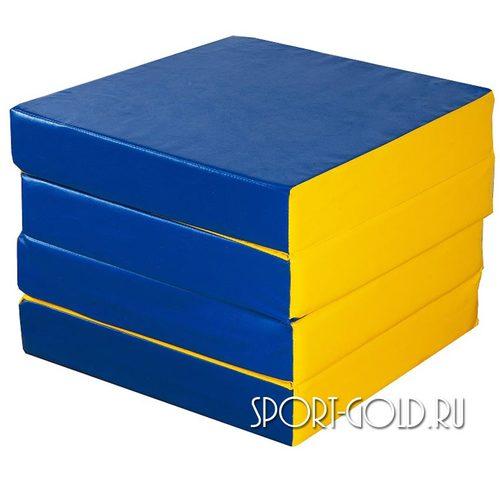 Спортивный мат АССОРТИ №11, 100х100х10 см, складной, 4 секции Сине-желтый