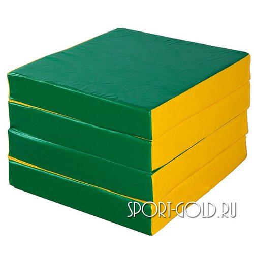 Спортивный мат АССОРТИ №11, 100х100х10 см, складной, 4 секции Зелено-желтый