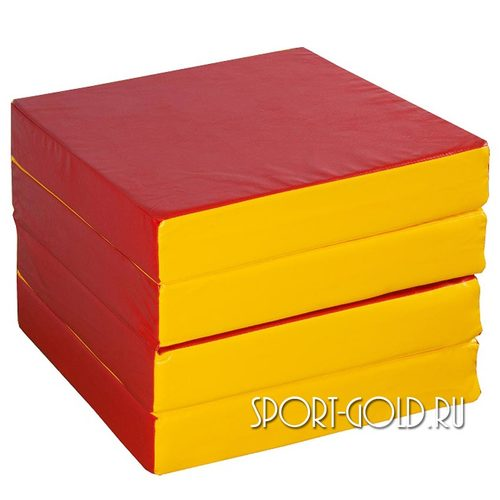 Спортивный мат АССОРТИ №11, 100х100х10 см, складной, 4 секции Красно-желтый