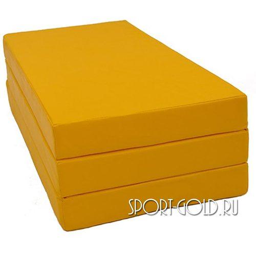 Спортивный мат АССОРТИ №4, 150х100х10 см, складной, 3 секции Желтый