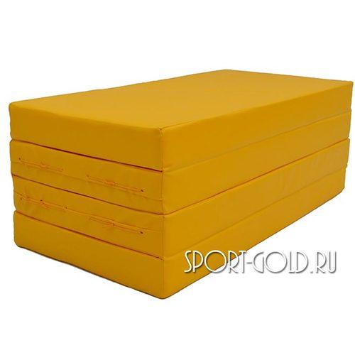 Спортивный мат АССОРТИ №5, 200х100х10 см, складной, 4 секции Желтый