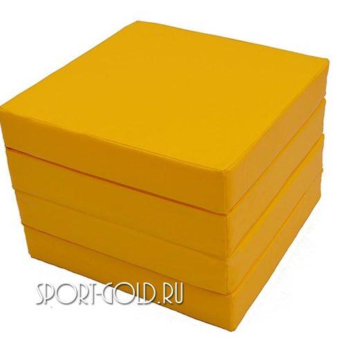 Спортивный мат АССОРТИ №11, 100х100х10 см, складной, 4 секции Желтый