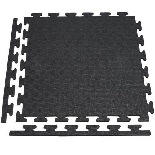 Аксессуар для тренажеров DFC Маты-пазлы для фитнеса (1 элемент + 2 бордюра) Черный