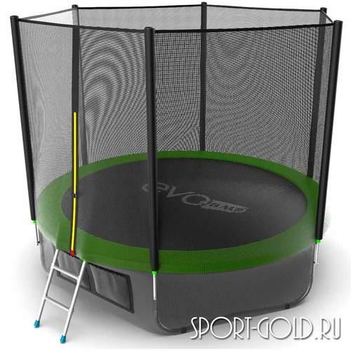 Батут EVO Jump External 10ft (3.05м) с сеткой и лестницей Зеленый, с нижней сеткой